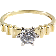 Cubic Zirconia Engagement Ring | 14K Yellow Gold | Vintage Diamond CZ