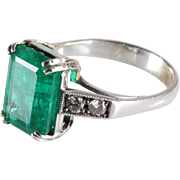 Emerald Diamond Ring | 18K White Gold | Vintage Engagement Cocktail