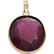 Oval Ruby Pendant | 14K Yellow Gold | Vintage Israel Solitaire 20Ct