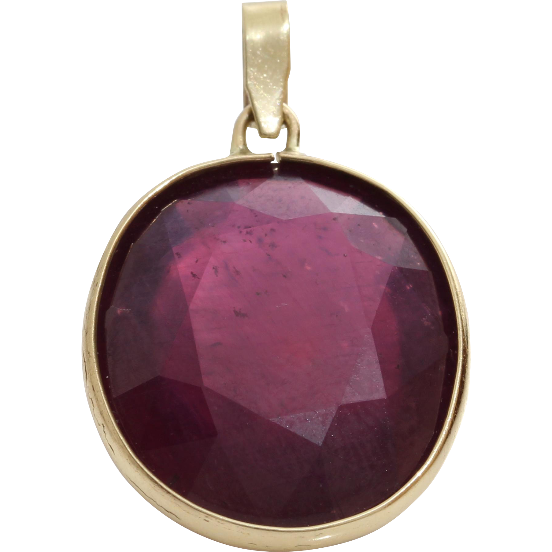 oval ruby pendant 14k yellow gold vintage israel