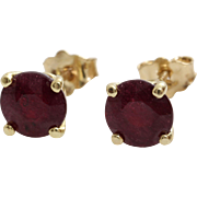 Ruby Stud Earrings | 14K Yellow Gold | Vintage Red Solitaire Round