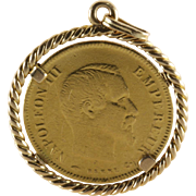 10 Francs Coin Pendant | 21K Gold Napoleon III | Second Empire 1864 A