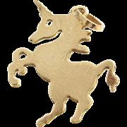 Unicorn Charm Pendant | 14K Yellow Gold | Vintage Horse Jewelry USA