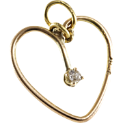 Diamond Heart Pendant | 14K Yellow Gold | Vintage Solitaire England