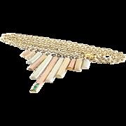 Tricolor Gold Choker Necklace   9K Yellow Rose White   Emerald Retro