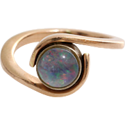 Retro Opal Ring | 14K Rose Gold | Vintage Solitaire Pinkie Crystal