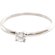 Diamond Engagement Ring   14K White Gold   Round Brilliant Cut Vintage