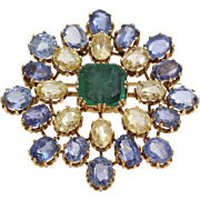 Emerald Sapphire Brooch Pendant | 18K Yellow Gold | Italy Vintage Blue