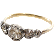 Georgian Diamond Ring | 18K Gold Silver | Five Stone Rose Cut Antique