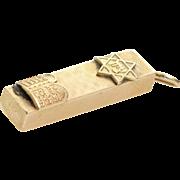 Mezuzah Pendant Charm | 14K Yellow Gold | Vintage Israel Judaica Zion