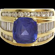 Blue Spinel Diamond Ring   18K Yellow Gold   Vintage Cocktail Retro