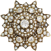 Victorian Diamond Pearl Brooch   9K Gold Star   Antique Pendant Pin