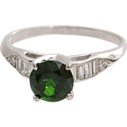 Art Deco Tourmaline Ring | Platinum Diamond Round | Vintage Green USA