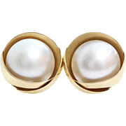 Mabe Pearl Stud Earrings | 14K Yellow Gold | Vintage Cultured Retro