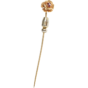 Victorian Flower Stick Pin | 14K Gold Ruby | Antique Scarf Hat Cravat