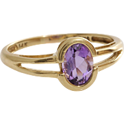 Amethyst Gold Ring | 14K Yellow Oval | Vintage Solitaire Purple USA