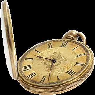 Antique Gold Pocket Watch   18K Open Face   Key Wind Roman Numerals