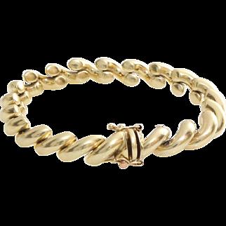 Gold Link Bracelet   14 Karat Yellow   Vintage Italy Unisex Jewelry