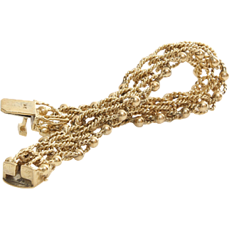 Retro Link Chain Bracelet   14K Yellow Gold   Vintage Rope Charm USA