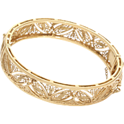 Gold Cuff Bracelet | 18K Yellow Filigree | Vintage Bangle Israel Hinged