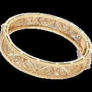 Gold Cuff Bracelet | 18K Yellow Filigree | Vintage Bangle Israel Hinged