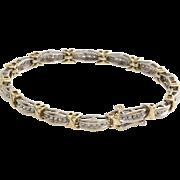 Diamond Gold Bracelet | 10K Bicolor Link | Vintage Tennis Eternity  X