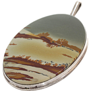 Polychrome Jasper Silver Pendant | 925 Sterling Vintage | Dendritic