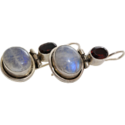 Moonstone Garnet Silver Earrings | 925 Sterling Drop | Vintage Israel