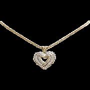 Heart Pendant Necklace | 14K Bicolor Gold | Vintage Link Chain USA 10K