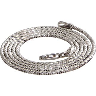 White Gold Necklace   18K Woven Rope Chain   Vintage Mens Braided Italy