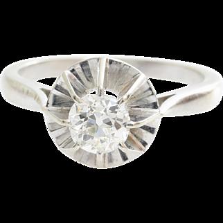Art Deco Diamond Ring   18K White Gold   Vintage Engagement Solitaire