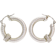 White Gold Hoop Earrings | 14K Vintage Italy | Hinged Latch Back Round