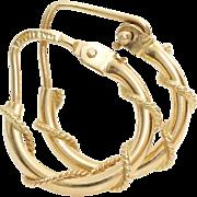 Gold Hoop Earrings | 14K Yellow Rope Pattern | Vintage Italy Hinged