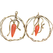 Coral Dangle Earrings | 9K Yellow Gold | Vintage Orange Drop Fishhook