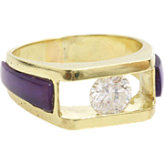 Mens Diamond Sapphire Ring | 18K Yellow Gold | Vintage Purple Gents