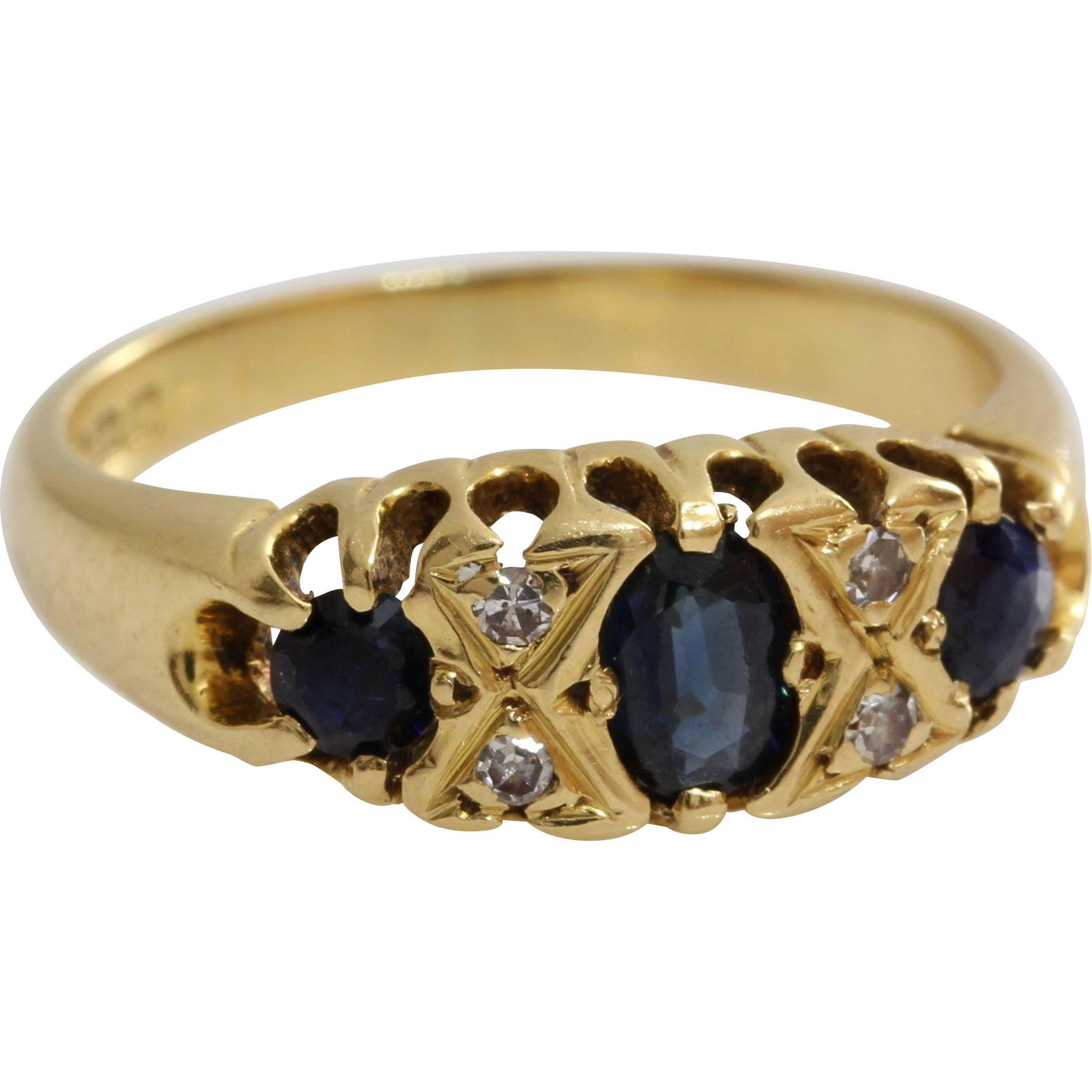 Edwardian Sapphire Diamond Ring 18k Yellow Gold