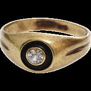 Art Deco Diamond Ring | 14K Gold Black Lacquer | Vintage Engagement