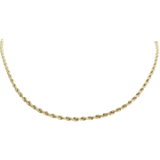 Rope Chain Necklace | 14K Yellow Gold Vintage | Princess Length Link