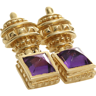 Amethyst Gold Drop Earrings | 14K Yellow Cabochon | Vintage Dangle