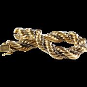 Gold Rope Bracelet | 18K Yellow White | Vintage Switzerland Braided