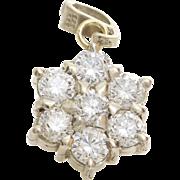 Diamond Star Pendant   14K White Gold   Vintage Brilliant Cut Israel