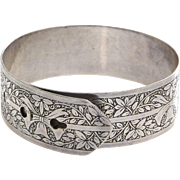 Belt Buckle Bangle Bracelet | Charles Horner Sterling Silver | Vintage