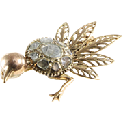 Victorian Ostrich Brooch | 14K Yellow Gold Diamond | Antique Bird Pin