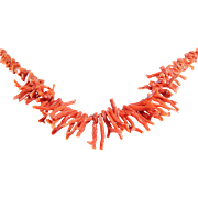 Red Coral Necklace | Italian Branch Beads | Vintage Natural Orange
