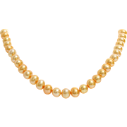 Orange Freshwater Pearl Necklace | 14K Yellow Gold | Vintage Cultured