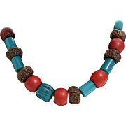 Tibetan Bead Necklace | Rudraksha Bodhi Seed | Vintage Blue Red Mala