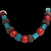 Tibetan Bead Necklace | Rudraksha Bodhi Seed | Vintage Blue Red Mala