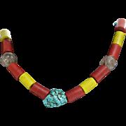 Tibetan Bead Necklace | Turquoise Glass | Vintage Red Yellow Mala Boho
