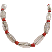 Tibetan Beaded Necklace | Glass Red Bead | Vintage Ethnic Mala Boho