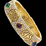 Bulgari Gold Parentesi Bracelet | Sapphire Ruby Emerald | Diamond 18K